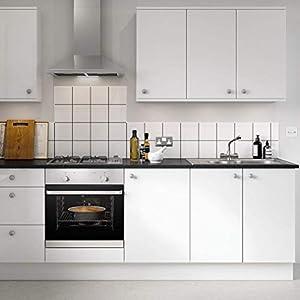 KINLO Aufkleber Küchenschränke Weiß 2 Stk. 61x500cm aus PVC Tapeten Küche Klebefolie Möbel wasserfest Aufkleber für Schrank selbstklebende Folie Küchenschrank Küchenfolie Dekofolie MIT GLITZER