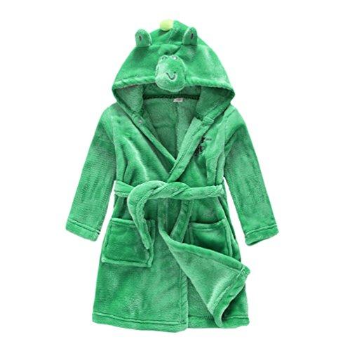 ungen Mädchen Flanell Bademantel Kinder Mit Kapuze Pyjama Morgenmantel Dinosaurier 120CM: 5T ()