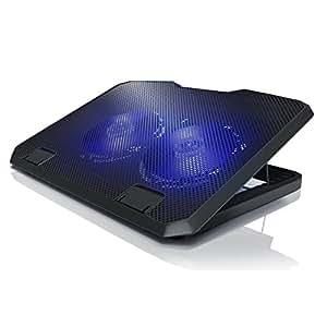 CSL - Notebook Cooling Pad Silent   Notebook Kühler / Laptop Lüfter   2x USB-Port Typ A   blaue LEDs   Metallgitter-Oberfläche   6 verschiedene Neigungseinstellungen