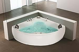 Whirlpool Coin Baignoire Monaco avec 12 Jets De Massage + éclairage sous-marin / LED + Chute d'eau De luxe Baignore d'angle Intérieur du Bain à Remous / intérieur favorable