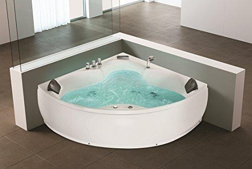 Whirlpool Eck Badewanne Monaco mit 12 Massage Düsen + Unterwasser Beleuchtung / LED + Wasserfall Luxus Eckwanne Hot Tub Spa indoor / innen günstig