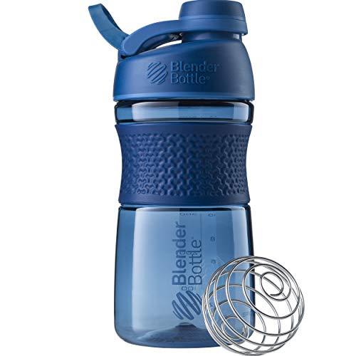 BlenderBottle Sportmixer twist Tritan/Protein/Wasserflasche/Fitness Shaker mit BlenderBall (BPA frei), 590ml - navy -