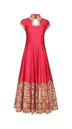 BRIDAL4Fashion Women's Pink color Benglori Silk with Heavy Embroidery Work Marriage and...