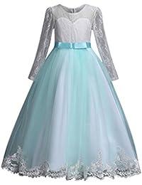 65f7bfa75144 PAOLIAN Vestidos Largos de Fiestas para Niñas Manga Larga Otoño Invierno  2018 Falda mullida Princesa Boda