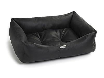 Chilli Dog Black Nero Faux Leather Dog & Cat Bed Medium and Large