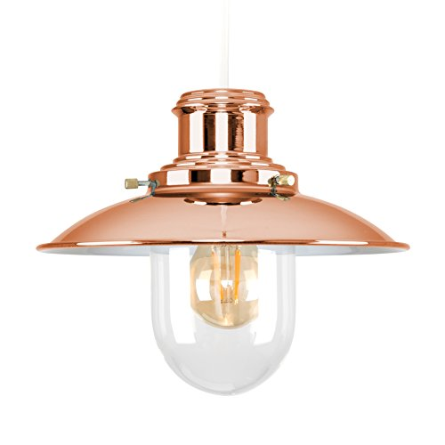 Minisun modern polished copper metal and glass fishermans vintage style lantern easy fit ceiling lamp pendant