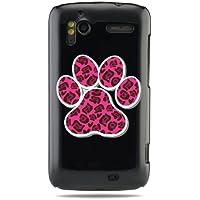 """GRÜV Premium Case - Design """"Rosa Hunde-, Katzenpfotenabdruck"""" - Qualitativ Hochwertiger Druck Schwarze Hülle - für HTC G14 G18 Sensation XE 4G z710e"""