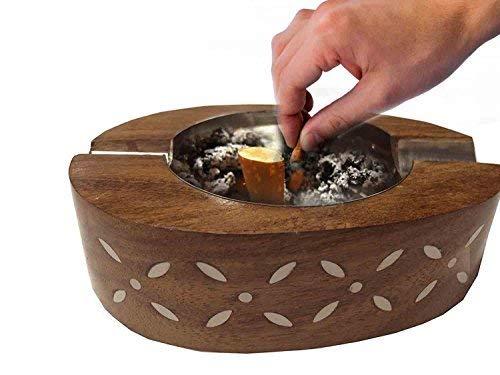 Cadeau de jour de Pâques pour les proches, cendrier en bois 2 porte-cigarette pour intérieur et extérieur Catchers de cendres (forme ovale, bois de Shisham, conception de marqueterie fait main en laiton décoratif., Jour de Pâques / fête des mères / cadeau de vendredi