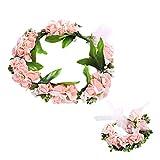 Amosfun 2pcs Flor Diadema muñequera Conjunto Nupcial Dama de Honor muñeca Banda de Flores Decorativos Sombrero (Rosa)