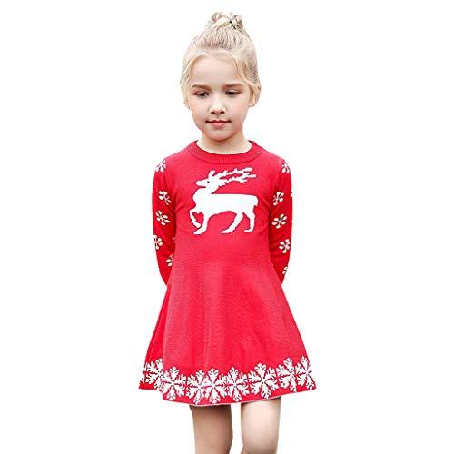 (BURFLY Mädchen Winter Christmas Deer Printed Strickpullover Princess Dresses Party Weihnachten Kleid(18M-6Y))