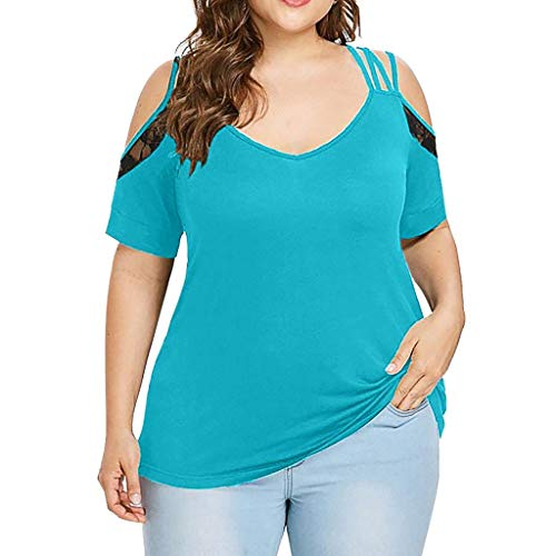 VJGOAL Damen T Shirt, Frauen Elegant Einfach Große Größen Kurze Ärmel Sommer Mode Volltonfarbe Spitze Schulterfreie Schulter V-Ausschnitt Top(Blau,XL)