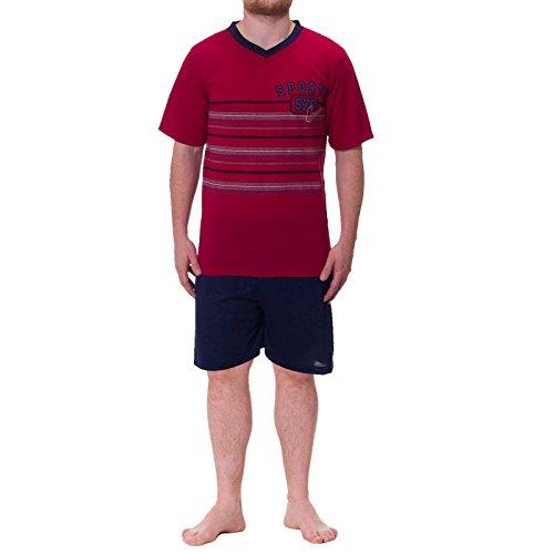 Lucky Herren Shorty T-Shirt mit kurzer Hose V-Ausschnitt Schlafanzug Pyjama classic Sport, Farbe:Bordeaux;Größe:L
