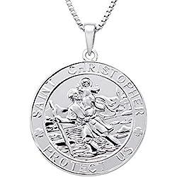 FJ St Christophe Pendentif Collier de Monnaie Argent 925 Plaqué Or Blanc 18 carats