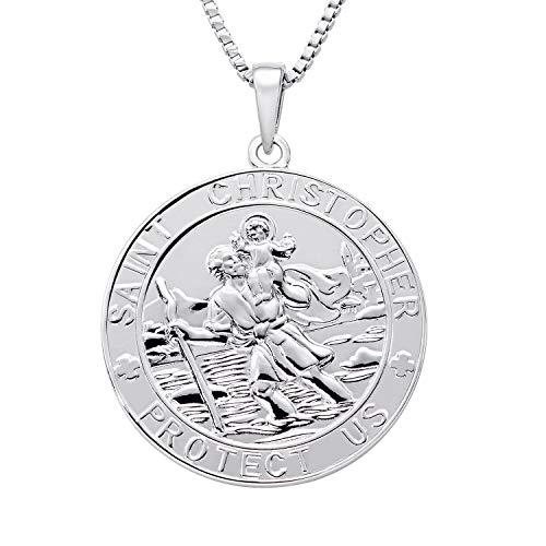 FJ Schmuck 925er Sterling Silber Heiliger Christopherus Runder Münzanhänger mit Halskette für Sie und Ihn - Skulptur In Der Runde