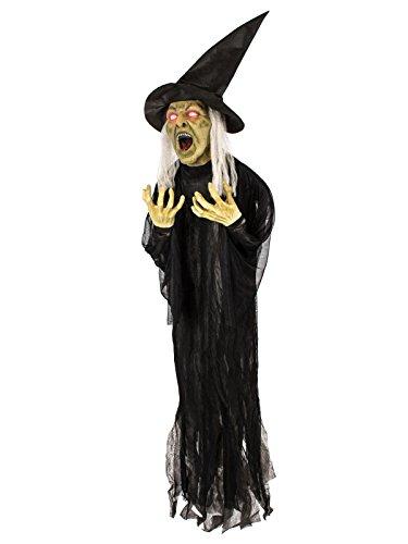KULTFAKTOR GmbH Schaurige Hexe animiert Halloween-Dekofigur Schwarz-Weiss-Grün 16x130x153cm Einheitsgröße