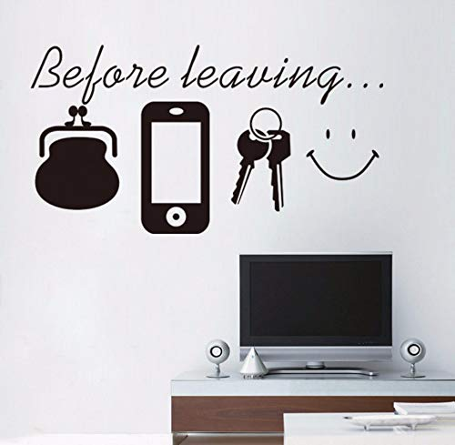 sch Zitat Vor Dem Verlassen Telefon Brieftasche Lächeln Schlüssel Wandaufkleber Für Tür Eingang Erinnern Sie Zu Hause Poster Wallpaper ()