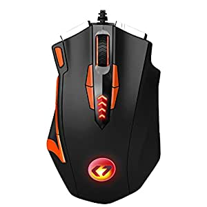 16400 DPI KingTop Gaming Mouse Programmabile 13 Tasti Programmabili Mouse Da Gioco Con 5 Profili Di Memoria Mouse Da Gaming Per PC Desktop E Notebook Nero e Arancia