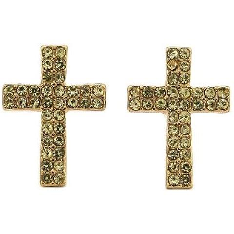 Doppia fila giallo pietra orecchini a lobo a forma di croce in oro