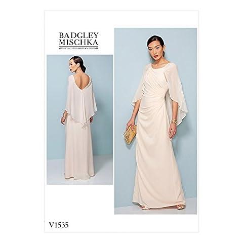 Vogue Patron de couture pour femmes 1535plissé et froncée Robe avec cape