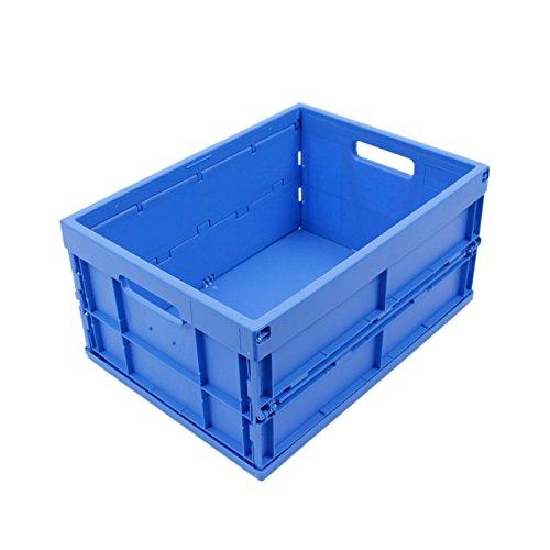 Preisvergleich Produktbild KLAPPBOX 33 LITER, stabile Faltbox Made in Germany, Transportkiste TÜV-Zert., Einkaufskorb, Plastikbox, Transportbox, 47,5x35x24 cm, max. 25kg, Blau