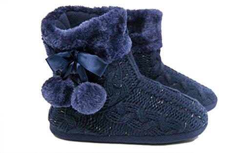 Pantofole Pantofole Da Donna Scarponcini Con Morbide Coppole Pompon Airee Fairee Blu Navy