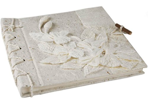 Handgemachtes Fotoalbum Blumen Weiße, Klassische Seiten (20cm x 20cm)