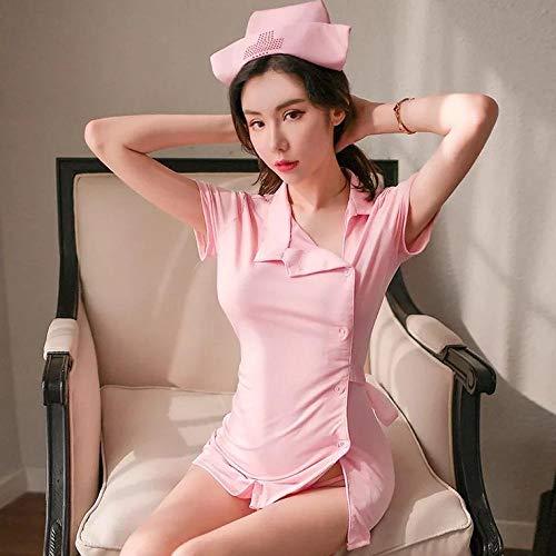 Fennd Neue erotische Dessous sexy erotische Dessous Krankenschwestern Berufe Anzüge Uniformen Versuchungen Rollenspiele Anzüge Größe: one Size @ Pink Krankenschwester + rosa Stockings_One Größe