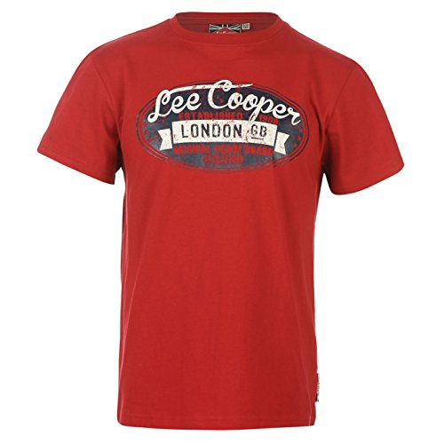 Lee Cooper bambini Junior a maniche corte scollo rotondo T-Shirt maglietta Tee Top Abbigliamento Vestiti Rot M