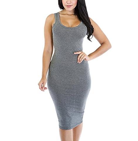 SunIfSnow Damen Schlauch Kleid, Einfarbig Gr. S, grau