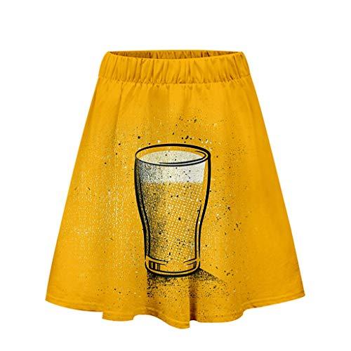 Efanhony Dirndl Kleid Karneval Oktoberfest Cosplay Ladies'3D Beer Festival Printing Easy Casual Short Skirt- Mit AufwäNdiger Applikation (Einzigartige Easy Halloween Kostüm)