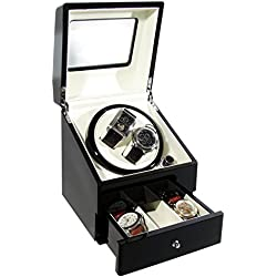 CKB Ltd DELUXE Automatic Watch Winder with Double Watch Box with Drawer - 4 Timer Modes Premium Silent Motor - CKBDRAW73