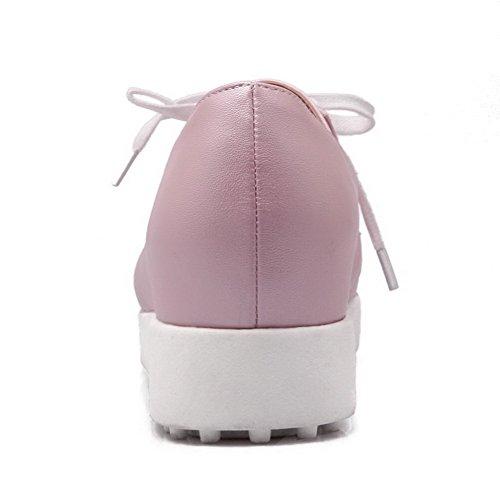 VogueZone009 Femme Lacet Pointu à Talon Bas Pu Cuir Couleur Unie Chaussures Légeres Rose
