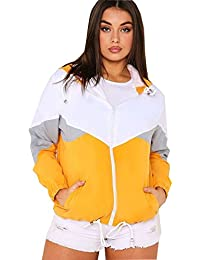 Gracious Girl New Womens Contrast Colour Block Hooded Rain Mac Festival Ladies Windbreaker Jacket