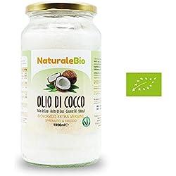 Huile de Coco Extra Vierge 1000 ml - Crue et Pressée à Froid - Pure et 100% Bio - Idéale Pour Les Cheveux, Le Corps et Comme Aliment - Huile Bio Native Non Raffinée (NaturaleBio)