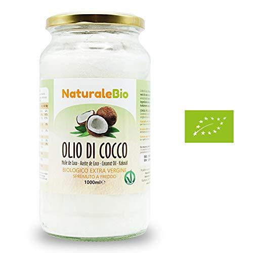 Aceite de coco extra virgen 1000 ml - Crudo y prensado en frío - Puro y 100% biológico - Ideal para cabello, cuerpo y para uso alimentario - Aceite bio nativo no refinado - (NaturaleBio)
