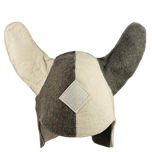 DIYer® - Saunahut - inkl. Sauna-Ratgeber - Motiv Wikinger - 100% Baumwolle - Filz Saunamütze (Einfache Wikinger Kostüm)