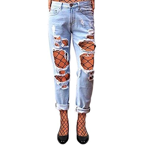 Loch Jeans Damen Boyfriend Schlank Jeanshosen Niedrig Taille Großes Löcher Blau Mit Netzstrumpfhose L