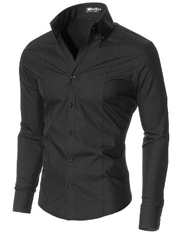 MODERNO Herren Hemd Slim Fit Business Langarm (MSSF501) Schwarz EU XL