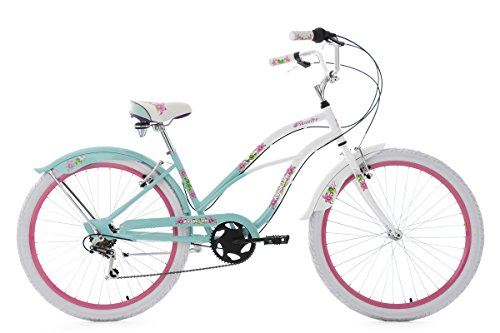 KS Cycling Damen Beachcruiser Paradiso 6 Gänge Fahrrad, Weiß/Blau, 26 Zoll (Damen-fahrräder, Cruiser 26 Zoll)