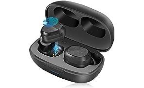 Auriculares Inalámbricos Bluetooth 5.1, Auriculares Wireless Impermeables IPX7 con Deep Bass, Un Paso Emparejamiento, Mini Portátil Caja de Carga, In-Ear Sport Cascos para iOS y Android
