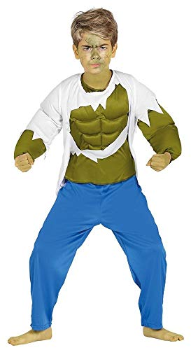 Hulk Unglaubliche Kostüm - shoperama Kinder-Kostüm Hulk mit Muskeln grün Jungen Superheld Muskelkostüm Karneval Superhero Muskelprotz, Größe:152 - 10 bis 12 Jahre