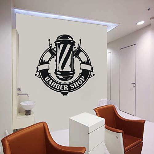 Knncch Peluquería Calcomanía De La Ventana Etiqueta De La Pared Peluquería Logotipo Del Salón Arte De La Pared Mural Barbería Etiqueta De Vinilo Decoración De Interiores 57X58 Cm