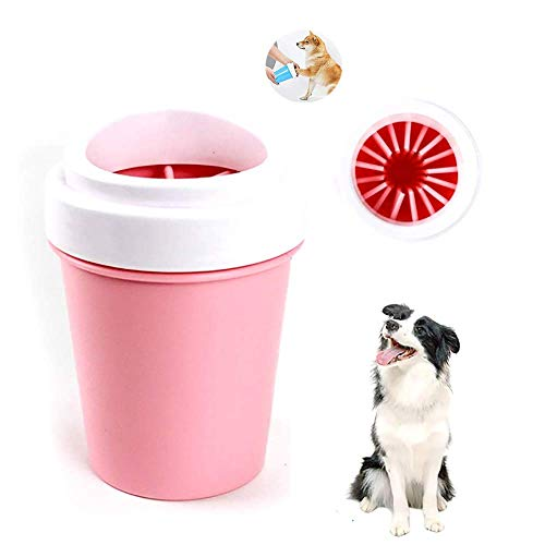 Einen Schritt Sanftes Reinigungsmittel (YXYXN Pfotenreiniger FüR Hunde, Tragbarer Pfotenwaschbecher FüR Hunde, 360 ° Drehbarer Reinigungsfuß, Komfortabler Silikon-HundefußReiniger FüR Haustiere Im Innen- Und AußEnbereich,Pink-9.5x13.5cm)