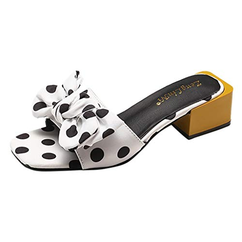 Scarpe Kinlene in Vendita! Pantofole da Donna A Punta Aperta Casuali Nodo con Fiocco Pot Tacchi Quadrati Pantofola per Interni All'Aperto Sandali con Punta Aperta