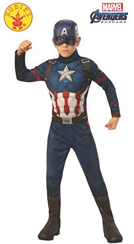America Captain Kind Kostüm - Rubie's Offizielles Avengers Endgame Captain America, klassisches Kinderkostüm, Größe M, Alter 5-7, Höhe 132 cm