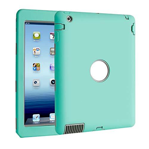 TKOOFN iPad 2/3/4 Hülle - PC + Silikon Schutzhülle Bumper Gehäuse Back Cover Case Schutz Tasche Etui + Displayschutzfolie Reinigungstuch Touch Pen für iPad 2 & iPad 3 & iPad 4 - Hybrid Stoßfest (Hellgrün, iPad 2 3 4) (Ipad 4 Touch Pen)