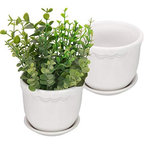 MyGift 4-Zoll weiß Scallop Design Keramik Pflanzgefäßen mit abnehmbarem Untertassen, Set von 2 -