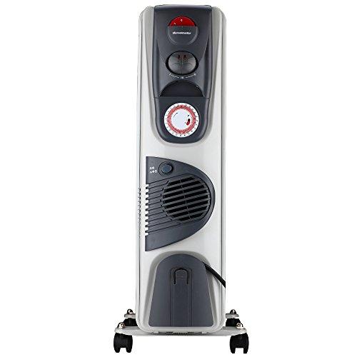 Homeleader DF-250CFT-9 mobile ÖlRadiator, Elektroheizung mit 9 Rippen, Lüfter, 3 Leistungsstufen, Timer und Thermostat, 2500W