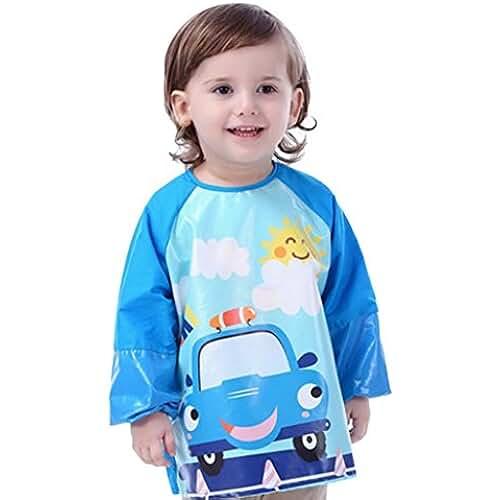 jirafa kawaii para colorear y mas Happy Cherry - Blusón Babero Babi Impermeable Delantal Infantil para pintar de mangas largas para Bebés niños niñas(1-2 2-4 4-6 años)- M L XL - Dinosaurio