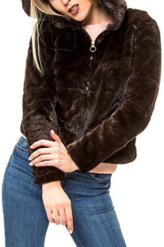 ONLY Damen Jacke onlCHRIS FUR Hooded Jacket CC OTW, Braun Black Coffee, 42 (Herstellergröße: XL)